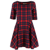 2017 New Women Red Plaid Dress Round Neck Summer Style Half Sleeve Fashion Mini Dresses Vestidos Y2 - Raja Indonesia
