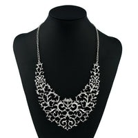 2016 Hot Sell Metallic Hollow Carved Necklace Fashion Women Hollow Bib Choker Statement Vintage Pendants Necklace Collier Femme - Raja Indonesia