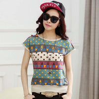 1PC Plus Size T Shirt Women 2016 Summer Tops Fashion Print Short Sleeve Camisetas Mujer Tee Shirt Femme ZZ3427 - Raja Indonesia