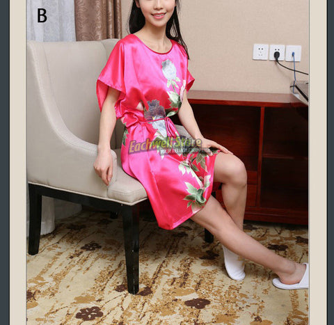 Short Sleeve Floral Sexy Plus Size Women Silk Robe Lady Girl Silk Pajamas Housecoat Nightgowns Loungewear Sleepwear