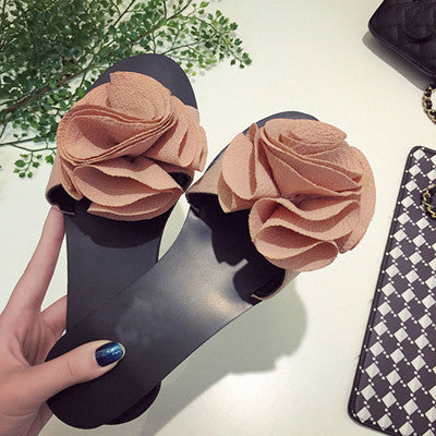 HEE GRAND 2017 New Summer Women's Sandals Sweet Big Flower Decoration Flat Leisure Slippers Solid Color Shoes Woman XWZ3317 - Raja Indonesia