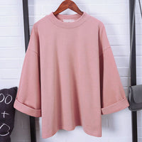 2017 Spring Autumn Solid Cotton Women Fashion T-shirt High Collar Three Quater Sleeve Casual All-match Female T-shirt Camisetas - Raja Indonesia