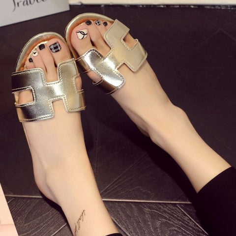 new arrival brand Soft Patent Leather Women Flats Sandals Loafers Slippers Shoes For Women Flip Flops  size 35-40 WC0148 - Raja Indonesia