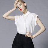 2017 Summer Style Blouse Women Fashion White Chiffon Elegant Shirt Female Work Wear Office Ladies OL Tops Women Clothing - Raja Indonesia