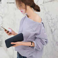 2016 Summer new fashion women black striped shirts casual long sleeved Oblique Collar blouse sexy loose tops Plus size - Raja Indonesia