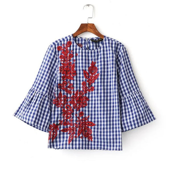 2017 new women vintage o neck plaid print flower embroidery loose blouses fashion women butterfly sleeve roupas femininas shirts - Raja Indonesia