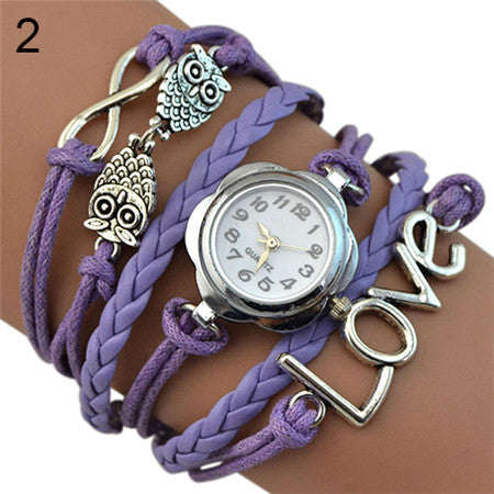 Women's Infinity Love Owl Knitting Multilayer Faux Leather Quartz Bracelet Watch