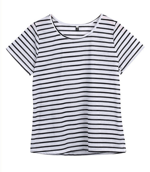 2016 Fashion Women Lady Clothing T-Shirts Tops  Loose Striped Cotton Brief Short Sleeve T Shirt Casual Tee Fashion Lady Summer - Raja Indonesia