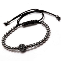 17KM New Black CZ Beads Ball Braiding Macrame Bracelet Friendship Punk Gold Color Men Jewelry Bead Love Bracelets For Women - Raja Indonesia