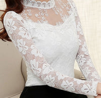 2016 Autumn Women Sexy Hollow Out Lace Blouse Long Sleeve Stand Collar Floral Lace Shirt Tops Casual Thicken Winter Blusas - Raja Indonesia