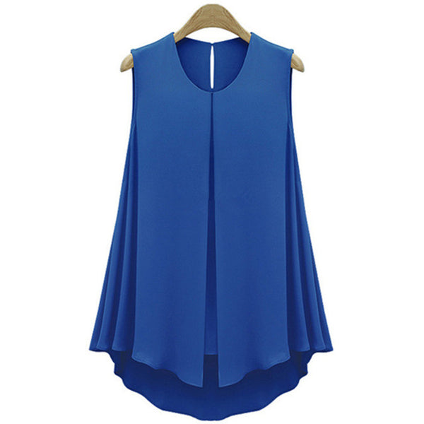 2017 Summer Ruffles Fashion Shirt Tops Sleeveless O-neck Casual Women Shirt Blue Apricot Women Chiffon Blouse Blusas - Raja Indonesia