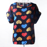 2017 Batwing Sleeve Women Blouses Clothing Casual Chiffon Shirt Blusas Tops Heart Animal Stripe Leopard Print Pattern Plus size - Raja Indonesia