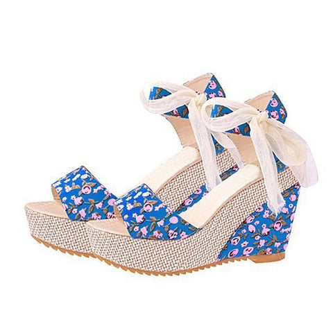 HEE GRAND Floral Wedges Sandals Summer Platform Gladiator Sandals 2017 Flats Shoes Woman Casual Lace Bowtie High Heels XWZ2019 - Raja Indonesia