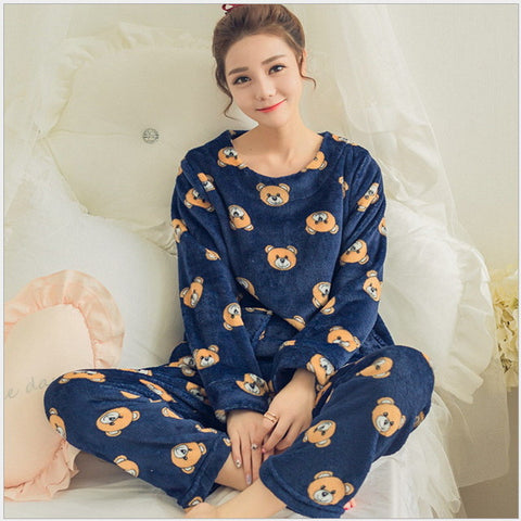 Autumn and Winter Women Pyjamas Sets Thick Warm Coral Velvet Suit Flannel Long Sleeve Female Cartoon Bear Animal Pants Sleepwear - Raja Indonesia