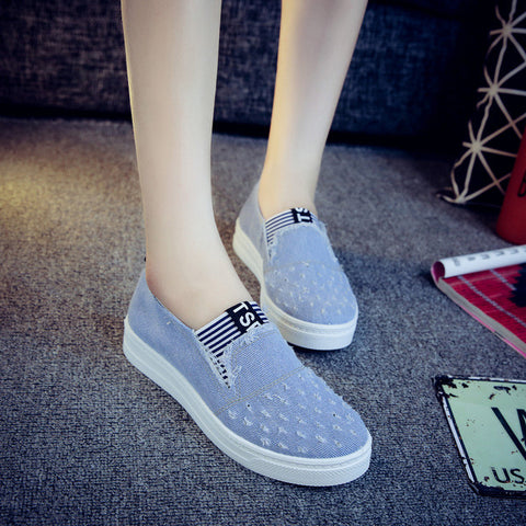High Quality Women's Jeans Shoes flats Fashion Casual Denim Shoes Soft Soles Students Canvas Shoes Breathable Orientpostmark - Raja Indonesia