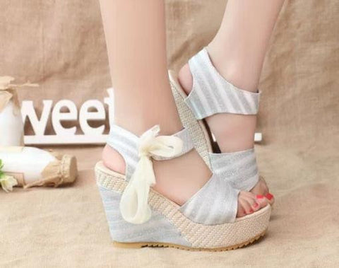 High Quality Women Sandals Summer wedges sandals female shoes women platform shoes lace belt bow open toe high-heeled size 35-40 - Raja Indonesia