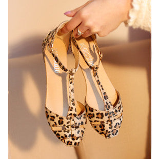 Leopard Print Flat Heel Women's Sandals 2017 Summer Women Summer Shoes 2017 Summer Shoes Fashion Sandals Sweet Free Shipping - Raja Indonesia