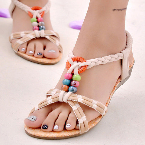 Women Summer Shoes Flat Heel Flip Brief Herringbone Flip-flop Sandals Flat Women Shoes with 4 Colors