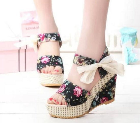 Size 35-40 Women Wedges Sandals Fashion Summer beach shoes for female platform lace belt bow flat open toe high-heeled shoes