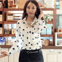 2016 Spring New Fashion Women's Blouses Red Lips Print Chiffon Casual Lady Shirt White Stand Collar Button Long Sleeve Blouse - Raja Indonesia