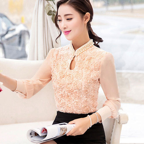 2016 New style Women  long sleeved Casual shirt Patchwork Chiffon blouse Sexy Flower Beaded lace Tops Women clothing 160E15 - Raja Indonesia