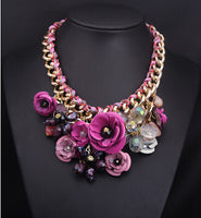 2015 New arrival  Za Brand Fashion Crystal Necklaces & Pendants Costume Choker Flower Collar Necklace statement necklaces - Raja Indonesia