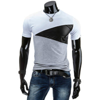 2016 this is me Summer Men T Shirt Casual Patchwork leather Cotton Tee Shirt Men Short Sleeve Slim Fit T-Shirt Men O-Neck Tees - Raja Indonesia