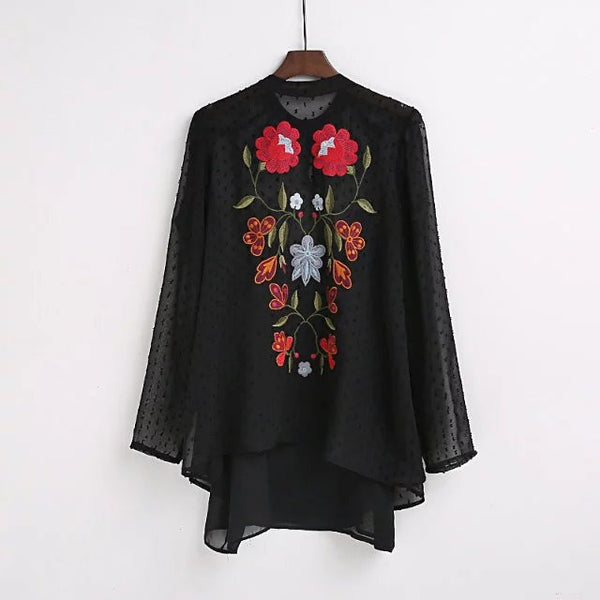 2017 women elegant O neck flower embroidery black blouses shirts fashion women two pieces  quality roupas femininas blusas tops - Raja Indonesia