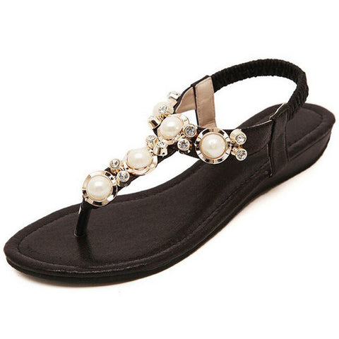 HEE GRAND Summer Sandals Women Fashion Beading PU Leather Platform Wedges Sandals Female Shoes Woman 4 Colors Size 35-40 XWZ1342 - Raja Indonesia