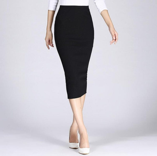 2016 Spring Summer Long Pencil Skirts For Womens Sexy Slim Package Hip Maxi Skirt Ladies Sexy Chic Wool Rib Knit midi Skirt Saia - Raja Indonesia