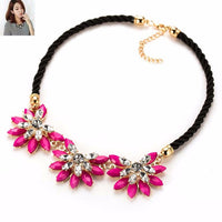 2016  Hot sale Brand Design western style multi-layer Weave Rhinestone Flower water drop necklace jewelry statement New - Raja Indonesia