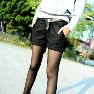 2016 autumn and winter women turn-up straight woolen bootcut short pants plus large big size casual shorts black grey - Raja Indonesia