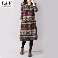 2016 Autumn and Winter Vintage Plus Size Long Sleeve Printed Ethnic Loose Cotton 3 Colors Linen Women Dress M-XXL size - Raja Indonesia