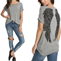 2017 New Summer Style Womens Back Angel Wings Print T-shirt Ladies Casual O-neck Short Sleeve Tee Tops shirt Plus Size Blusas - Raja Indonesia