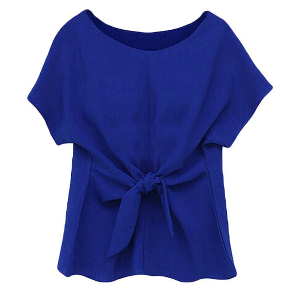 2016 New Women Summer Blue Chiffon Shirt Short Sleeves Bottoming Shirt Girls O-neck Blouses Tops With Bowknot - Raja Indonesia