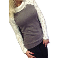 2017 European Women Fashion Sweater Autumn Winter Pullover Turtleneck Patchwork Lace Long Sleeve Jumper Knitted Tops Pull Femme - Raja Indonesia
