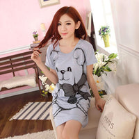2017 Summer Women's Nightgowns Sleeveless Short-sleeve Dress Cute Girls Sleepwear Cartoon Bear Printed Sleepwear Free Shipping - Raja Indonesia