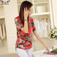 2016 high quality Summer style Kimono blouses top Plus size XS-5XL cotton Printed Short sleeve Casual Women shirts blusas tops - Raja Indonesia