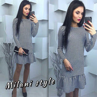 2017 New Women Spring Print Grid Dress Vestidos Sexy Long Sleeve Dress Bodycon Sexy Bandage Knee Dress Fall Robe Pull Plus Size - Raja Indonesia