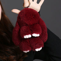 2017 Christmas Gifts Rex Mengmeng Really Small Rabbit Pendant Car Key Chain Bag Ornaments Shaggy Rabbit Fur Accessories Plush - Raja Indonesia