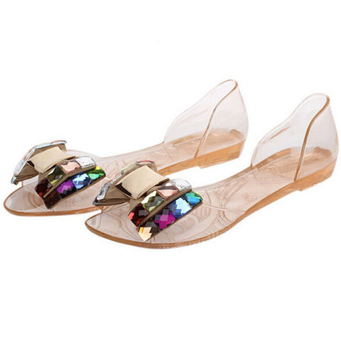 HEE GRAND Women Sandals Summer Bling Bowtie Fashion Peep Toe Jelly Shoes Sandal Flat Shoes Woman 2 Colors Size 36-40 XWZ722 - Raja Indonesia