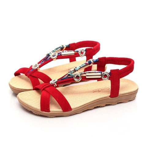 New Women Sandals Flats Ankle-Strap Shoes Women Summer Sandals Flip Flop Sandale Femme Red Sandals Plus Size 40 41 - Raja Indonesia