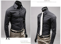 2016 Mens Slim Fit Casual Blouse Unique Neckline Stylish Long Sleeve Shirt Turn-down Collar Men's Shirts 1pcs/lot - Raja Indonesia