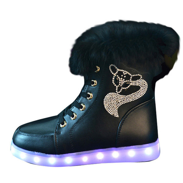 2016 New Luminous Shoes Women High Top Rabbit Fur Quilted Boots USB Rechargeable Led Shoes Black Winter Snow Shoes - Raja Indonesia