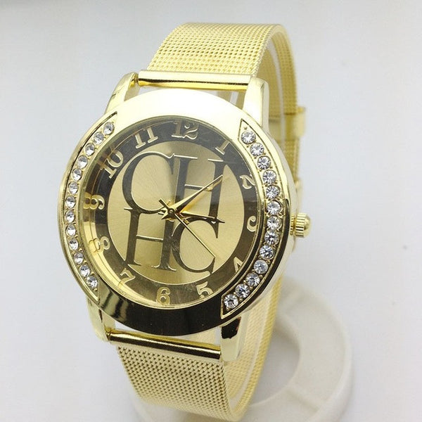 2015 New Brand Gold Geneva Crystal Casual Quartz Watch Women Metal Mesh Stainless Steel Dress Watches Relogio Feminino Clock Hot - Raja Indonesia