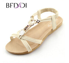 BFDADI Women Sandals 2016 Ankle-Strap Shoes Women Flat Sandals Narrow Band Summer Shoes Beaded Girl Flip Flops Big size B01 - Raja Indonesia