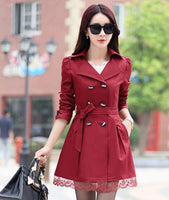 2016 Spring New Trench Coat With Belt Women Mid Long Style Double Breasted Lace Patchwork Coats Loose Outerwear Plus Size C8019 - Raja Indonesia