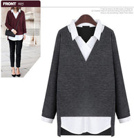 2016 New Women tops Fake two-piece shirt turn-down collar sweater slim fashion clothing women sweater plus size 5XL - Raja Indonesia