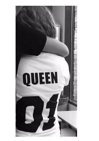 28d4bcfd10 ... Valentine Shirts Woman Cotton King Queen 01 Funny Letter Print Couples  Leisure T-shirt Man