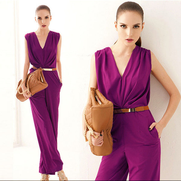 cb587b13fbb ... Feitong Fashion Women Sleeveless Maxi Overalls Belted Wide Leg Jumpsuit  Plus Size macacao long pant Elegant ...
